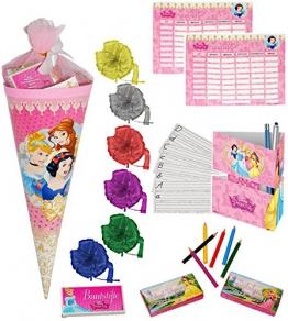 """1 Set _ gefüllte Schultüte - """" Disney Princess - Prinzessin """" - incl. Schleife - Spielset´s - Lern & ABC Schreibspiele - Stundenplan - Stifte - Stiftebox - Zuckertüte gefüllt - für Mädchen / Schreibübungen - Lernübungen - Lesen Buchstaben Alphabet - Geschenk -"""