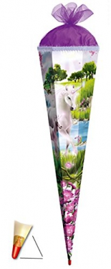 3-D Schultüte - Einhorn 85 cm 6 eckig - mit Holzspitze / Tüllabschluß und Glitzer - Zuckertüte Roth Pferd Einhörner Glitzer Glitter Borte -