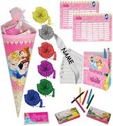 """3 Set´s _ gefüllte Schultüten - """" Disney Princess - Prinzessin """" - incl. individueller Schleife - Spielset´s - Lern & ABC Schreibspiele - Stundenplan - Stifte - Stiftebox - Zuckertüten gefüllt - für Mädchen / Schreibübungen - Lernübungen - Lesen Buchstaben Alphabet - Geschenk -"""