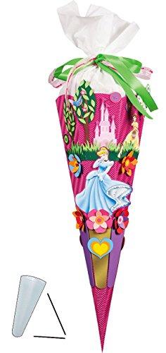 Bastelset 3-D Schultüte - Disney Prinzessin - 85 cm 6 - eckig - Zuckertüte zum selbst Basteln - für Mädchen - Prinzessinnen Princess Aschenputtel Cinderella Schloß Märchen - Aurora -