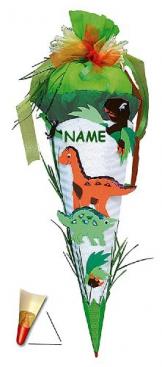 BASTELSET Schultüte - Dinosaurier 85 cm - incl. Namen - mit Holzspitze - Zuckertüte Roth - ALLE Größen - 6 eckig Saurier DInos T-Rex Jungen -