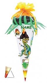BASTELSET Schultüte - Dinosaurier 85 cm - incl. NAMEN - mit Holzspitze - Zuckertüte Roth ALLE Größen - 6 eckig Dino Dinos Saurier Urzeit grün -