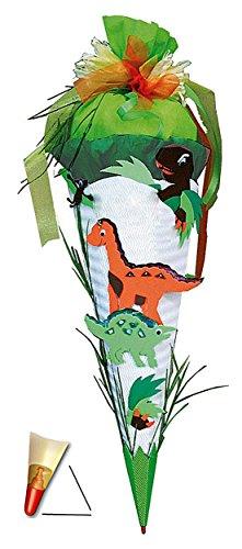 """BASTELSET Schultüte - """" Dinosaurier """" - 85 cm - mit Holzspitze - Zuckertüte Roth - 6 eckig Saurier Dinos T-Rex Jungen - Dinoschultüte / Saurier - zum Basteln -"""