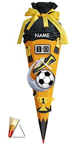 BASTELSET Schultüte Fußball 85 cm incl. Name - mit Holzspitze - 6 eckig Fußballer Fussball Sport Jungen Gelb Schwarz - Zuckertüte Roth - ALLE Größen -