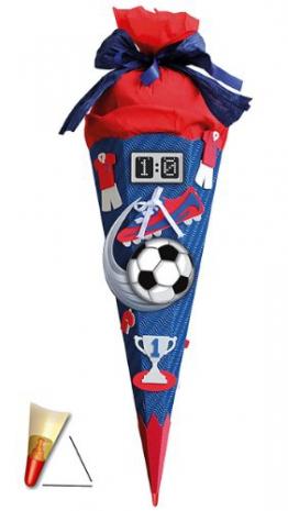 BASTELSET Schultüte - Fußball 85 cm - mit Holzspitze - Zuckertüte Roth - ALLE Größen - 6 eckig Fußballer Fussball Sport Jungen rot blau -