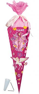 BASTELSET - Schultüte - MIA and ME 85 cm incl. Namen - mit / ohne Kunststoff Spitze - Zuckertüte Nestler - ALLE Größen - 6 eckig Mädchen Pferde Blumen Einhörner rosa Schmetterling -