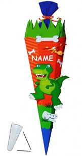 """BASTELSET Zuckertüte """" Dinosaurier - Dino """" - 85 cm - incl. Namen - mit / ohne Kunststoff Spitze - Schultüte zum selber Basteln - 6 eckig / orange - Jungen - Saurier T-Rex Tyrannosaurus - Komplettset -"""