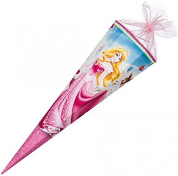 Nestler 6855940 - Schultüte Disney Princess Aurora, Tüllverschluss, 6 eckig, 85 cm -