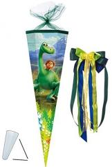 """Schultüte - """" Arlo & Spot - der gute Dinosaurier """" - 85 cm - eckig - incl. große SCHLEIFE - Tüllabschluß - Zuckertüte - mit / ohne Kunststoff Spitze - für Mädchen & Jungen - Dino - Dinos / Urzeit - the good Dinosaur - Film - Saurier -"""