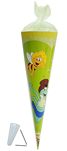 Schultüte - Biene Maja 22 cm - mit / ohne Kunststoff Spitze - Tüllabschluß - Zuckertüte für Mädchen Jungen Bienen Honig Willi Flip -