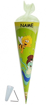 Schultüte - Biene Maja 50 cm - incl. NAMEN - mit / ohne Kunststoff Spitze - Tüllabschluß - Zuckertüte für Mädchen Jungen Bienen Honig Willi Flip -