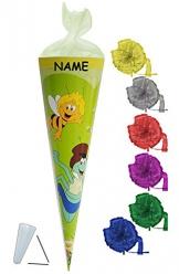 Schultüte - Biene Maja 50 cm - incl. NAMEN und Schleife - mit / ohne Kunststoff Spitze - Tüllabschluß - Zuckertüte für Mädchen Jungen Bienen Honig Willi Flip -