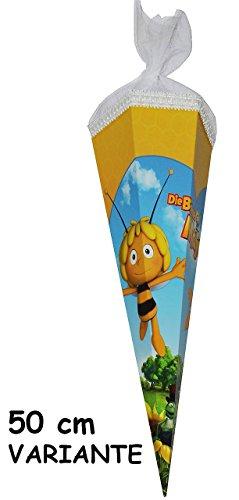 Schultüte - Biene Maja 85 cm - incl. NAMEN und individueller SCHLEIFE - mit / ohne Kunststoff Spitze - Tüllabschluß - Zuckertüte für Mädchen Jungen Bienen Honig Willi Flip -