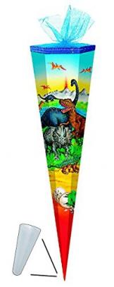 Schultüte - Dinosaurier 85 cm - mit Tüllabschluß - mit / ohne Kunststoff Spitze - Zuckertüte Dinos Saurier Dino T-Rex Jungen Tiere -