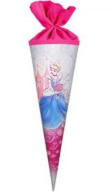 """Schultüte - """" Disney Prinzessin Cinderella """" - 70 cm mit Filzabschluß - Zuckertüte - Märchenprinzessin - Princess gezeichnet / Zeichnung - Schultüten - Aschenputtel - Schloß - Prinzessinnen rosa / pink - Rosen Blumenranken - für Mädchen -"""