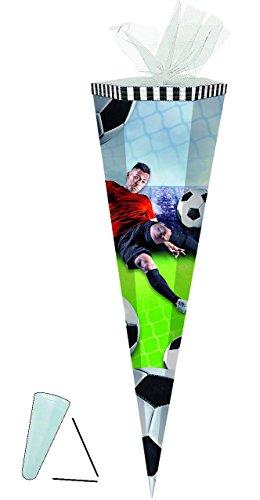 """Schultüte - """" Fußball - Fußballspieler / Soccer """" - 85 cm - 6-eckig - Tüllabschluß - Zuckertüte - mit / ohne Kunststoff Spitze - für Jungen / Fussballer - Tor Verein / Sport - Ballspiel - Fußballverein -"""