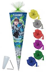 Schultüte - Max Steel 70 cm - incl. NAMEN und Schleife - mit / ohne Kunststoff Spitze - Filzabschluß - Zuckertüte Nestler - für Jungen Superheld Transformer Cytro Aktion Figur -
