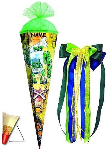 """Schultüte - """" Roboter - grün """" - 85 cm - 6 eckig - incl. NAMEN und große SCHLEIFE - Tüllabschluß - Zuckertüte Roth - mit / ohne Holzspitze - für Jungen / Geschenktüte / Werkzeuge - Fahrzeug / Auto - Aktion Figur - Comic -"""