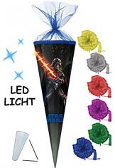 """Schultüte - """" Star Wars - Darth Vader """" - 100 cm / 6 eckig - incl. SCHLEIFE - Organza Abschluß - Zuckertüte - mit / ohne Kunststoff Spitze - für Mädchen & Jungen - Starwars / Clone Anakin Skywalker Luke -"""