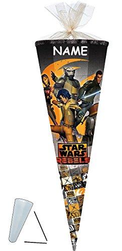 """Schultüte - Star Wars """" Rebels """" - 85 cm incl. NAMEN mit Tüllabschluß - Zuckertüte - mit / ohne Kunststoff Spitze Spitze - Nester - für Jungen - Darth Vader Starwars / Clone Anakin Skywalker - Kanan JArrus -"""