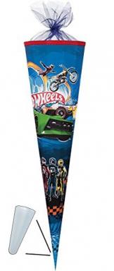Schultüte - Team Hot Wheels 35 cm - mit Tüllabschluß - Zuckertüte Nestler Auto Autos Hotwheels Wheel Modellauto Figuren -