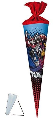 Schultüte - Transformers Prime 22 cm - incl. SCHLEIFE - mit / ohne Kunststoff Spitze - Tüllabschluß - Zuckertüte Nestler - für Jungen Transformer Optimus Bumblebee Auto -