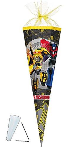"""Schultüte - """" Transformers - Robots """" - 85 cm - eckig - Tüllabschluß - Zuckertüte - mit / ohne Kunststoff Spitze - für Jungen - Transformer / Fahrzeuge - Action Figur Autos / Roboter - Optimus Prime - Robot -"""
