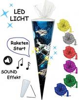 """SOUND Modul & LED Licht Effekt ! - Schultüte - """" Weltraum - Space """" - 85 cm / 6 eckig - incl. SCHLEIFE - Tüllabschluß - Zuckertüte - mit / ohne Kunststoff Spitze - für Jungen - Raumschiff / Weltall - Astronaut - All / Sterne & Planeten - Galaxy - Geschenktüte -"""