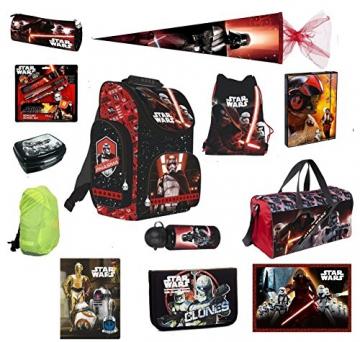 Star Wars Schulranzen Set 21-tlg. Sporttasche, Schultüte, Episode 7 Schulrucksack PL -